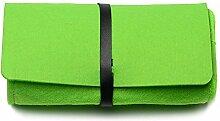 Hippolo Modische Männer und Frauen Universelle Einfarbig mit Filzfilz-Sonnenbrillen-Box (Grün)