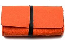 Hippolo Modische Männer und Frauen Universelle Einfarbig mit Filzfilz-Sonnenbrillen-Box (Orange)