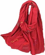 Hippolo Notizen Stickerei Baumwolle und Leinen Schals Frauen Frühjahr Sonnenschutz Schal (Rot)