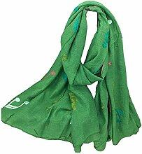 Hippolo Notizen Stickerei Baumwolle und Leinen Schals Frauen Frühjahr Sonnenschutz Schal (Grün)