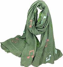 Hippolo Notizen Stickerei Baumwolle und Leinen Schals Frauen Frühjahr Sonnenschutz Schal (Hellgrün)