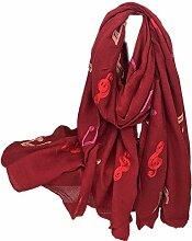 Hippolo Notizen Stickerei Baumwolle und Leinen Schals Frauen Frühjahr Sonnenschutz Schal (Rotwein)