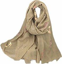 Hippolo Notizen Stickerei Baumwolle und Leinen Schals Frauen Frühjahr Sonnenschutz Schal (Khaki)