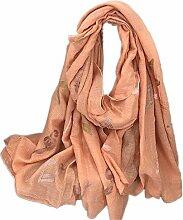Hippolo Notizen Stickerei Baumwolle und Leinen Schals Frauen Frühjahr Sonnenschutz Schal (Rosa)