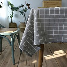 Hippolo Tischdecke Country Style Plaid Print Multifunktionale Rechteck Table cover Home Küche Dekoration (100*140CM, Grau)