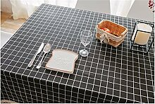 Hippolo Tischdecke Country Style Plaid Print Multifunktionale Rechteck Table cover Home Küche Dekoration (140*180CM, Schwarz)