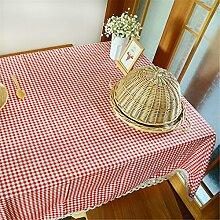 Hippolo Tischdecke Plaid Braun Rosa Tischdecke Spitze Rand Esszimmer Baumwolle Leinen Tischtuch Home Dekoration (140*220cm, Rot)