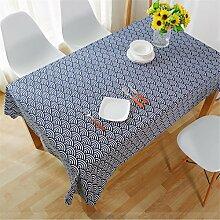Hippolo Tischdecken Leinen Tischdecke Blau Dinette Printed Large Tischdecken Streifen Mikrowelle Cover Cloth (40*60CM)