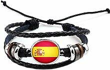 Hippolo Unisex Nationalflaggen Charm Armband Armreifen Leder Geflochtenen Seil Armband Perlen Armband Manschette Frauen Männer Geschenk (Stil 8, Silber)