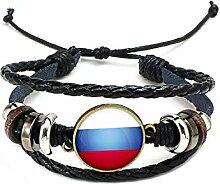 Hippolo Unisex Nationalflaggen Charm Armband Armreifen Leder Geflochtenen Seil Armband Perlen Armband Manschette Frauen Männer Geschenk (Stil 4, Bronze)