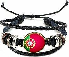 Hippolo Unisex Nationalflaggen Charm Armband Armreifen Leder Geflochtenen Seil Armband Perlen Armband Manschette Frauen Männer Geschenk (Stil 7, Bronze)