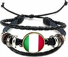 Hippolo Unisex Nationalflaggen Charm Armband Armreifen Leder Geflochtenen Seil Armband Perlen Armband Manschette Frauen Männer Geschenk (Stil 9, Bronze)
