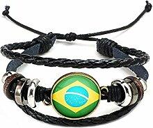 Hippolo Unisex Nationalflaggen Charm Armband Armreifen Leder Geflochtenen Seil Armband Perlen Armband Manschette Frauen Männer Geschenk (Stil 2, Bronze)