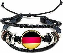Hippolo Unisex Nationalflaggen Charm Armband Armreifen Leder Geflochtenen Seil Armband Perlen Armband Manschette Frauen Männer Geschenk (Stil 3, Bronze)