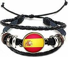 Hippolo Unisex Nationalflaggen Charm Armband Armreifen Leder Geflochtenen Seil Armband Perlen Armband Manschette Frauen Männer Geschenk (Stil 8, Bronze)