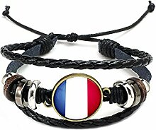 Hippolo Unisex Nationalflaggen Charm Armband Armreifen Leder Geflochtenen Seil Armband Perlen Armband Manschette Frauen Männer Geschenk (Stil 5, Bronze)