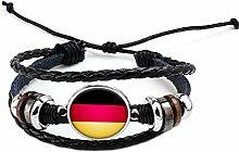 Hippolo Unisex Nationalflaggen Charm Armband Armreifen Leder Geflochtenen Seil Armband Perlen Armband Manschette Frauen Männer Geschenk (Stil 3, Silber)