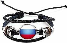 Hippolo Unisex Nationalflaggen Charm Armband Armreifen Leder Geflochtenen Seil Armband Perlen Armband Manschette Frauen Männer Geschenk (Stil 4, Silber)