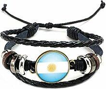 Hippolo Unisex Nationalflaggen Charm Armband Armreifen Leder Geflochtenen Seil Armband Perlen Armband Manschette Frauen Männer Geschenk (Stil 1, Bronze)