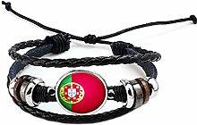 Hippolo Unisex Nationalflaggen Charm Armband Armreifen Leder Geflochtenen Seil Armband Perlen Armband Manschette Frauen Männer Geschenk (Stil 7, Silber)