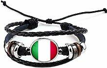 Hippolo Unisex Nationalflaggen Charm Armband Armreifen Leder Geflochtenen Seil Armband Perlen Armband Manschette Frauen Männer Geschenk (Stil 9, Silber)