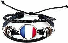 Hippolo Unisex Nationalflaggen Charm Armband Armreifen Leder Geflochtenen Seil Armband Perlen Armband Manschette Frauen Männer Geschenk (Stil 5, Silber)