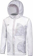 Hippolo Unisex Outdoor Sonnenschutz Kleidung Sonnenschutz Haut Windbreaker UV-beständig Jacke Kleidung Frauen Männer (M, Grau)