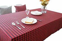 Hippolo Wachstuch Tischdecke Karo Eckig Abwaschbar Schmutzabweisend Tischtuch Pflegeleicht Haus Dekorationen (140*220, Rot und Schwarz)