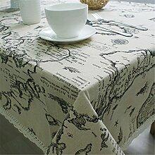 Hippolo Weltkarte Tischdecke Europäischen Funktionellen Tischdecke für Picknick Party Leinen Baumwolle Tischdecken Rechteckigen (140*250cm)