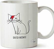 "Hippowarehouse Keramikbecher mit Aufdruck ""David Meowie"", 284ml, keramik, weiß, One Size (10oz)"