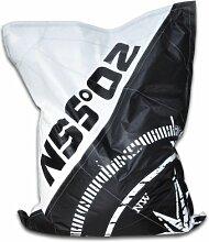 HIPSIT Sitzsack 100% Handarbeit (Just Black, L)