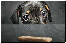 Hipster Black Dachshund Puppy Teppich Bodenmatte