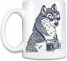Hipster dog Kaffee Becher