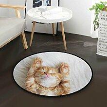 Hipster Katze Kätzchen Schlafen Runde Teppich