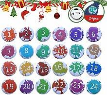 HIQE-FL 24 Adventskalender Buttons,Anstecker