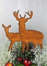 Hirsch gruppe 40cm x 36xm Rost Gartendeko Edelrost Gartenstecker