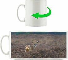 Hirsch in Freiheit, Motivtasse aus weißem Keramik 300ml, Tolle Geschenkidee zu jedem Anlass. Ihr neuer Lieblingsbecher für Kaffe, Tee und Heißgetränke.