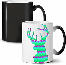Hirsch Tier Gestalten Mode Schwarz Farbwechsel Tee Kaffee Keramisch Becher 11 oz   Wellcoda