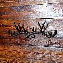 Hirschgeweih Haken Garderobe Wandhaken Geweih Motiv Aufhänger Garderobenhaken Wandbefestigung Schlafzimmer Wohnzimmer Dekor - Hohe Tragkraft - Gusseisen (Braun)