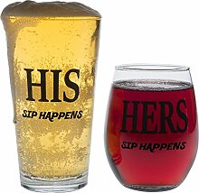 HIS und HERS Glas Set, SIP Happens, Pint-Glas,