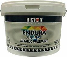 Histor Metallglanz Endura select Wandfarbe Silber seidenglänzende 2,7 Liter