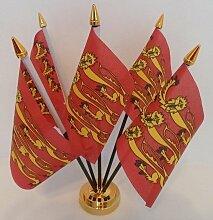 Historic England Richard Löwenherz 5Flagge Desktop Tisch mit Gold Boden