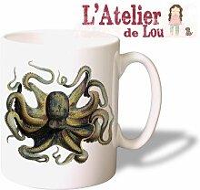 Historisch Krake Octopus keramisch Kaffeetasse Mug Kaffeebecher - Originelle Geschenkidee - Spülmaschinefes