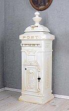 Historischer Standbriefkasten, Briefkasten, Briefbehälter, Eisenbriefkasten, Kasten im Stil der Gründerzeit aus Gusseisen in Weiß - Palazzo Exclusive