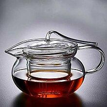 Hitzebeständige Glas-Teekanne mit Blumen-Motiv,