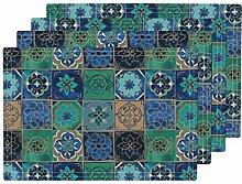 Hitzebeständige Tischset, blaue Aquarell