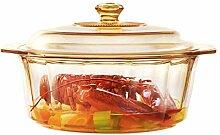 Hitzebeständiger Glas-Kochtopf runder Stewpot mit