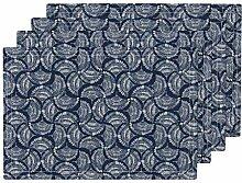 Hitzebeständiges Tischset, blau weiß Boho Navy