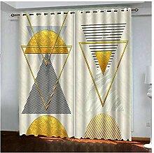 HIUYOO Vorhänge Motiv Dreieck Gardinen Vorhänge