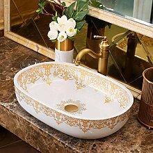 Hiwenr Oval Countertop Keramik Waschbecken